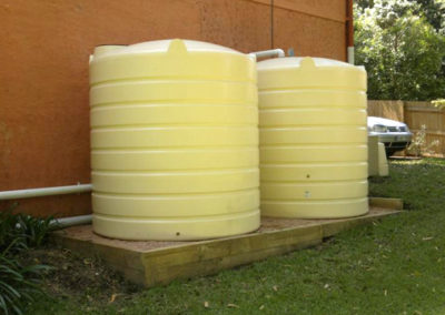 2 x 5000L round tanks connected to toilet and laundry in merino